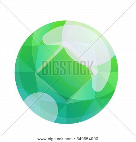 Round Green Gem Icon. Cartoon Of Round Green Gem Vector Icon For Web Design Isolated On White Backgr