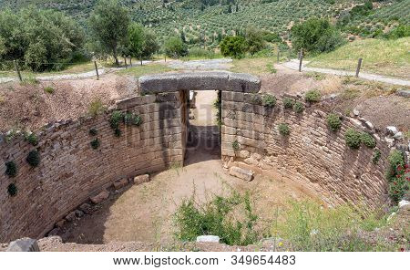 Lion Tholos Tomb In Ancient Mycenae, Peloponnese, Greece.