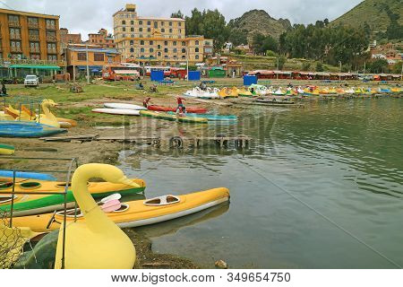 The Town Of Copacabana On The Shore Of Lake Titicaca, Bolivia, South America, 28th April 2018