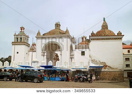 The Basilica Of Our Lady Of Copacabana, The Town Of Copacabana On The Shore Of Lake Titicaca, Bolivi