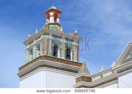 Ornate Bell Tower Of The Basilica Of Our Lady Of Copacabana, Historic Place In Copacabana, Bolivia,