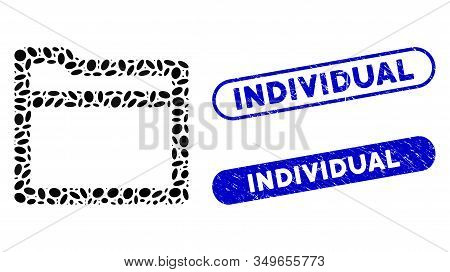 Mosaic Folder And Corroded Stamp Seals With Individual Caption. Mosaic Vector Folder Is Composed Wit