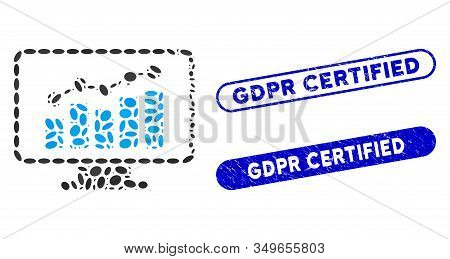 Mosaic Monitoring And Distressed Stamp Watermarks With Gdpr Certified Text. Mosaic Vector Monitoring