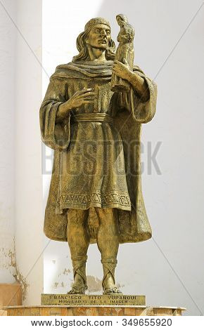 Statue Of Francisco Tito Yupanqui At The Basilica Of Our Lady Of Copacabana, The First Saint Of Boli