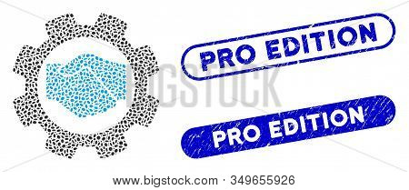 Mosaic Smart Contract Setup Gear And Rubber Stamp Seals With Pro Edition Phrase. Mosaic Vector Smart