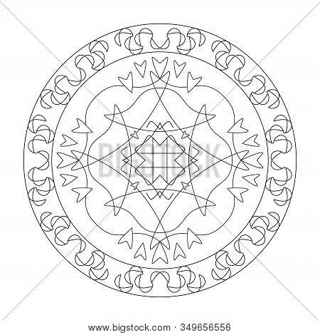 Mandala Coloring Page, Illustration. Art Therapy. Decorative Element.