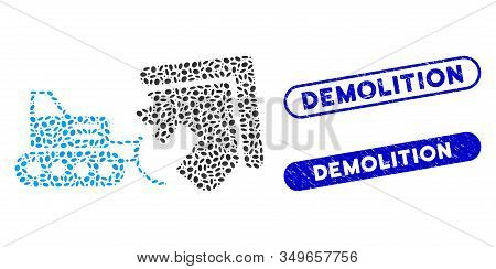 Mosaic House Demolition And Corroded Stamp Watermarks With Demolition Caption. Mosaic Vector House D