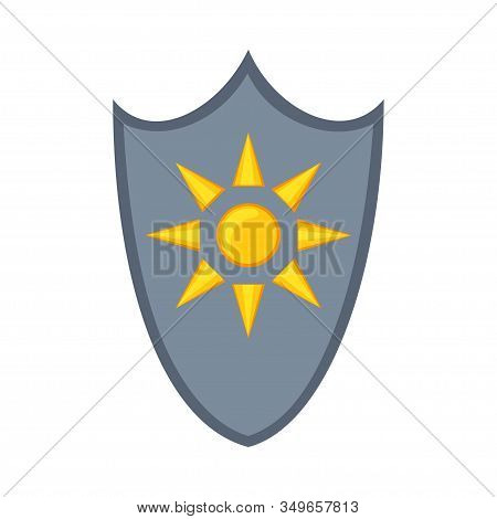 Cartoon Metal Sun Shield. Medieval Festival Props. Fairy Tale Theme Vector Illustration For Icon, St