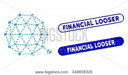 Mosaic Qtum Currency And Distressed Stamp Seals With Financial Looser Caption. Mosaic Vector Qtum Cu