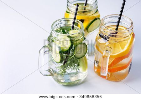 Glass Jars With Fresh Infused Water Made With Organic Fruits Vegetables And Berries Healthy Detox Dr