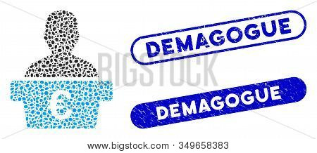 Mosaic Euro Politician And Distressed Stamp Seals With Demagogue Caption. Mosaic Vector Euro Politic