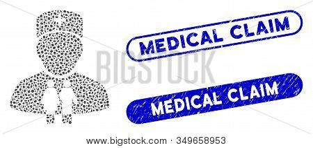 Mosaic Family Doctor And Rubber Stamp Seals With Medical Claim Phrase. Mosaic Vector Family Doctor I
