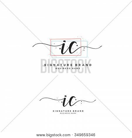 I C Ic Initial Letter Handwriting And  Signature Logo. A Concept Handwriting Initial Logo With Templ