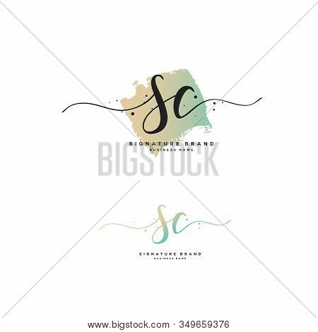 S C Sc Initial Letter Handwriting And  Signature Logo. A Concept Handwriting Initial Logo With Templ