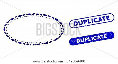 Mosaic Double Oval Frame And Rubber Stamp Seals With Duplicate Caption. Mosaic Vector Double Oval Fr