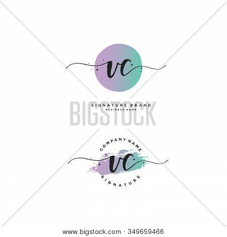 V C Vc Initial Letter Handwriting And  Signature Logo. A Concept Handwriting Initial Logo With Templ