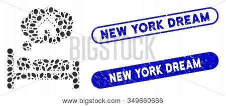 Mosaic House Dreams And Rubber Stamp Seals With New York Dream Text. Mosaic Vector House Dreams Is F