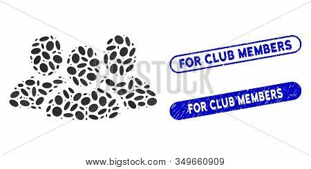 Mosaic User Group And Corroded Stamp Seals With For Club Members Phrase. Mosaic Vector User Group Is