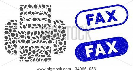 Collage Printer And Grunge Stamp Seals With Fax Phrase. Mosaic Vector Printer Is Created With Random