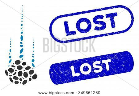 Mosaic Falling Stone And Corroded Stamp Seals With Lost Phrase. Mosaic Vector Falling Stone Is Desig