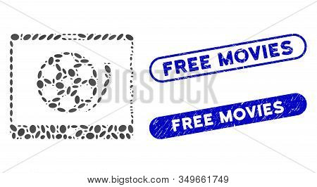 Mosaic Phone Video Reel And Grunge Stamp Seals With Free Movies Phrase. Mosaic Vector Phone Video Re