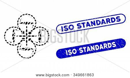 Mosaic Quadcopter Flight And Rubber Stamp Seals With Iso Standards Text. Mosaic Vector Quadcopter Fl