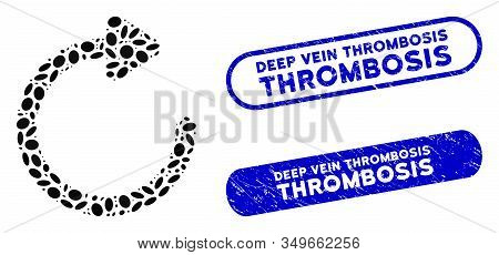 Mosaic Rotate Right And Grunge Stamp Seals With Deep Vein Thrombosis Text. Mosaic Vector Rotate Righ