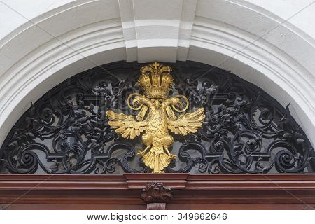Vienna, Austria - May 22, 2019: This Is The Coat Of Arms Of The Austrian-hungarian Empire, Adorning