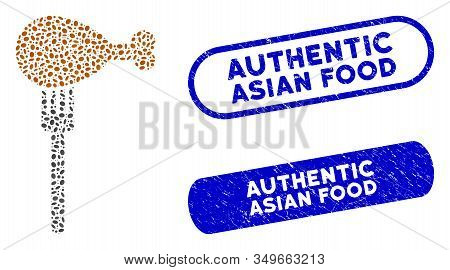 Mosaic Fork And Grunge Stamp Seals With Authentic Asian Food Caption. Mosaic Vector Fork Is Formed W