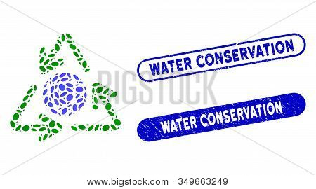 Mosaic Global Recycling And Grunge Stamp Seals With Water Conservation Text. Mosaic Vector Global Re
