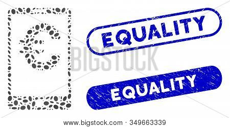 Mosaic Euro Mobile Balance And Rubber Stamp Seals With Equality Text. Mosaic Vector Euro Mobile Bala