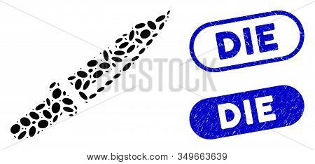 Mosaic Knife And Grunge Stamp Seals With Die Phrase. Mosaic Vector Knife Is Designed With Random Ell