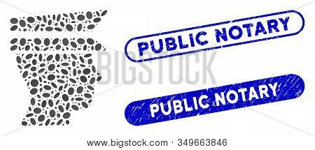 Mosaic Officer Head And Corroded Stamp Watermarks With Public Notary Text. Mosaic Vector Officer Hea