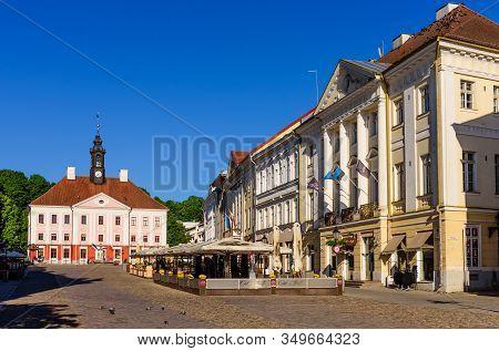 Tartu, Estonia - June 3, 2018: Sightseeing Of Tartu. Tartu Town Hall In Historical Centre.