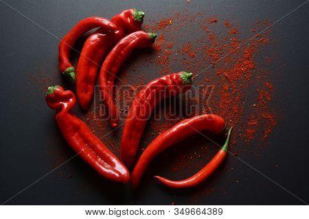 Fresh  Chili Peppers , Turmeric ( Known As Curcumin, Curcuma Longa Linn) Powder Spices For Cooking
