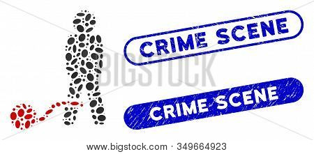 Collage Guilty Man And Corroded Stamp Seals With Crime Scene Phrase. Mosaic Vector Guilty Man Is Des