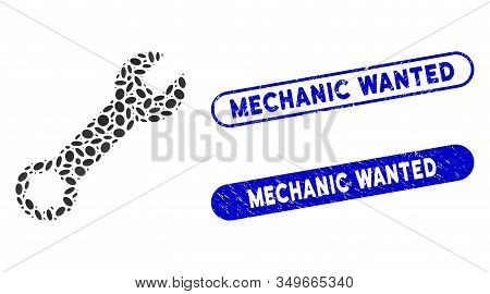 Mosaic Wrench And Rubber Stamp Seals With Mechanic Wanted Phrase. Mosaic Vector Wrench Is Formed Wit
