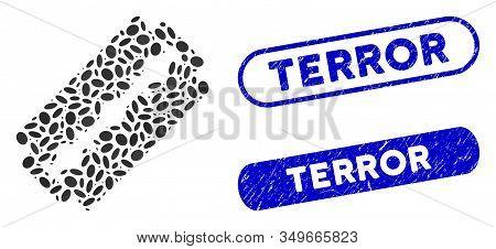 Mosaic Shaving Razor Blade And Rubber Stamp Seals With Terror Text. Mosaic Vector Shaving Razor Blad