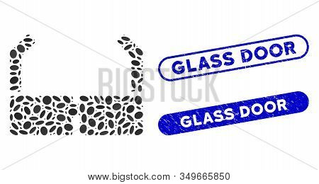 Mosaic Spectacles And Distressed Stamp Watermarks With Glass Door Text. Mosaic Vector Spectacles Is