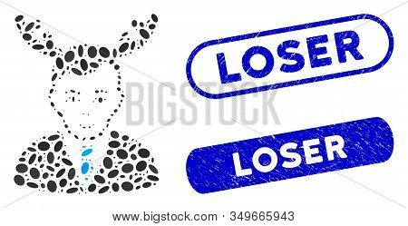 Mosaic Horned Husband And Rubber Stamp Seals With Loser Text. Mosaic Vector Horned Husband Is Formed