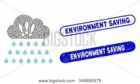 Collage Thunderstorm Rain Cloud And Corroded Stamp Seals With Environment Saving Text. Mosaic Vector