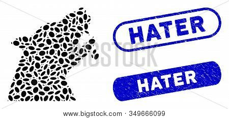 Mosaic Werewolf And Rubber Stamp Seals With Hater Text. Mosaic Vector Werewolf Is Formed With Random