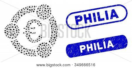 Mosaic Euro Collaboration And Grunge Stamp Watermarks With Philia Text. Mosaic Vector Euro Collabora