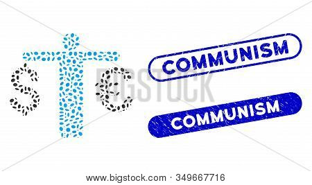 Mosaic Person Compare Euro Dollar And Distressed Stamp Seals With Communism Caption. Mosaic Vector P