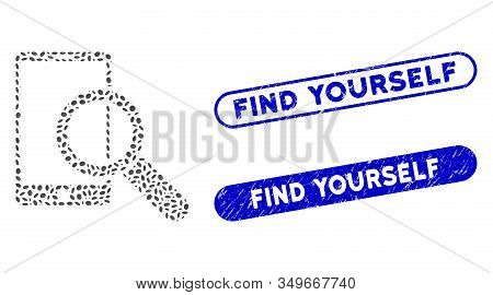 Mosaic Find Smartphone And Distressed Stamp Seals With Find Yourself Caption. Mosaic Vector Find Sma