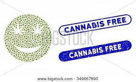 Collage Cannabis Smile And Corroded Stamp Seals With Cannabis Free Text. Mosaic Vector Cannabis Smil
