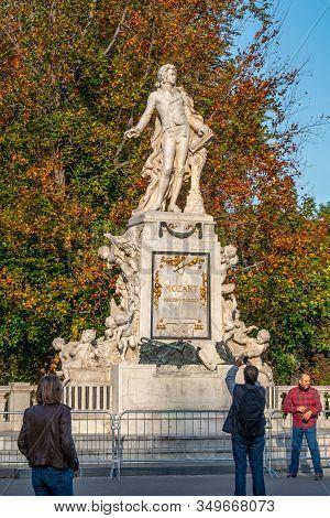 Vienna, Austria 25 November 2019 - Wolfgang Amadeus Mozart Statue In Vienna.