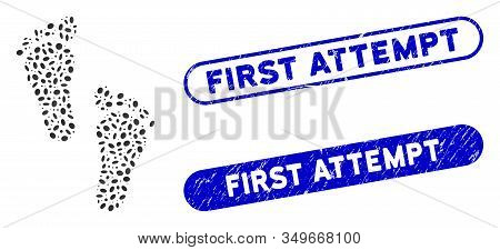 Mosaic Human Steps And Distressed Stamp Seals With First Attempt Text. Mosaic Vector Human Steps Is