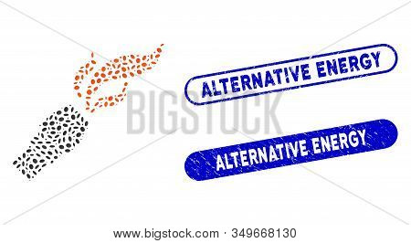 Mosaic Burner Nozzle Fire And Grunge Stamp Watermarks With Alternative Energy Phrase. Mosaic Vector