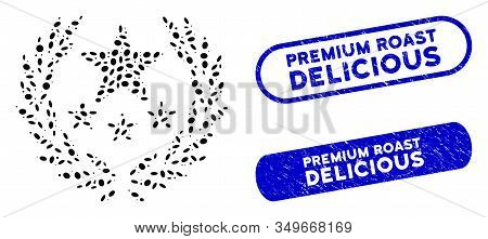 Mosaic Triumph Emblem And Rubber Stamp Seals With Premium Roast Delicious Caption. Mosaic Vector Tri